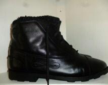 Vintage - 80's - Esprit - Black - Leather - Lace Up - Granny - Mod - Punk - Ankle Booties - size 9