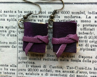 Mini book earrings