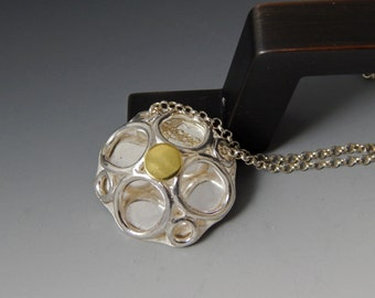 Enjoy the Bubbly - Sterling Silver and Gold dome Pendant