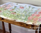 Hand Painted Farmhouse Style Table Vintage with Drawer Botanical Watercolor Landscape