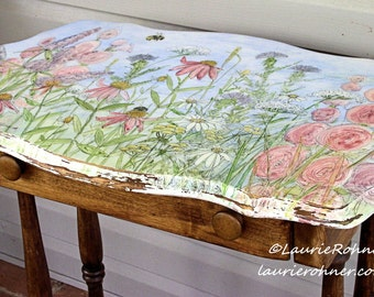 Hand Painted Furniture Farmhouse Style Table with Drawer Botanical Watercolor Landscape