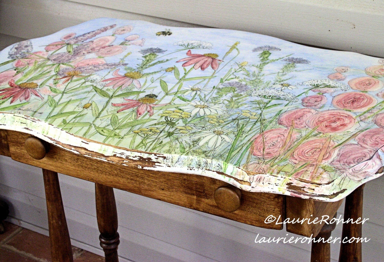 Hand painted furniture farmhouse style table with drawer for Hand painted furniture