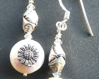 White coin pearl and sterling earrings