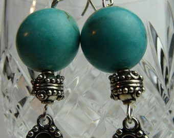 Magnesite and silver earrings.