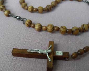 Fishing Rosary Necklace Brown Wooden Beads Gunmetal Swivel Pater Beads Brass Tri Swivel Middle Wooden Crucific
