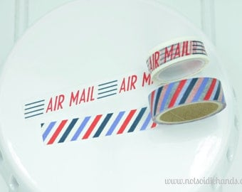 Washi Tape Air Mail and Stripes Rolls Choose Your Color Air Mail, Blue & Red Stripes, or Choose Both Great for Birthdays