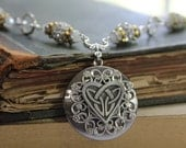 Celtic Love Knot - American Pewter Celtic Heart, Handwired Glass and Rhinestone Beads, Antiqued Sterling Silver Plated Locket Necklace