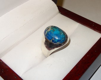 Sterling Silver Taxco Mexico Blue Jasper Stone Ring Size 10