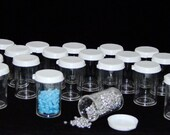 Pack of 100 Round Clear Plastic Storage Vials With Snap On Lids 1x1.5 Inch