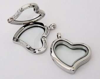 Floating Glass Locket Silver Plated Heart