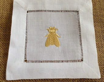 Embroidered Bee Cocktail Napkins, set of four