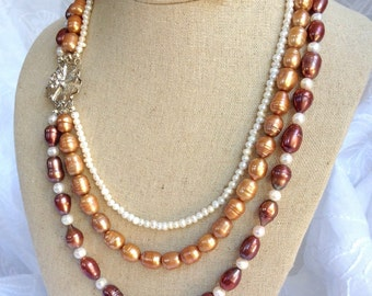 Triple Strand Freshwater Pearl Necklace with Vintage Style Floral Clasp