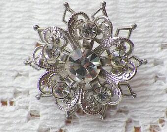 Small Vintage Filigree / Filigreed Pin / Brooch / Broach, Silver Tone Rhinestone / Rhinestones, Bride, Bridal