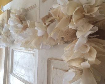 Burlap Wedding Garland. Burlap and Lace Wedding Banner. Handmade Rustic Wedding Garland, 6-10 ft Farm Style Wedding Shower decoration
