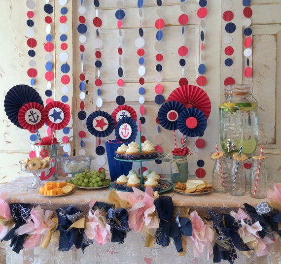 Nautical baby shower decorations red white and blue party for Red and white polka dot decorations