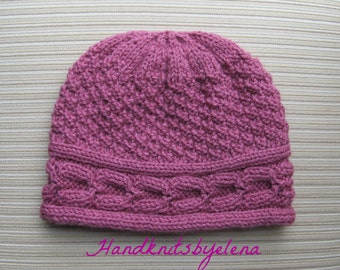 """Instant Download Knitting Pattern #202 Hat """"Luchia"""" for a Lady"""