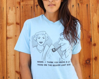 Vintage Leave it to Beaver T-shirt size XL Blue Unisex Funny Tee Illustration