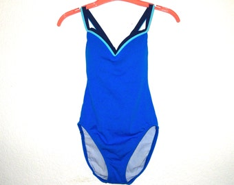 Vintage Swimsuit JAG One Piece Royal Blue, 80s Bathing Suit Bright Colors Built-In Bra Cups Criss Cross Small, Nylon Spandex Swim