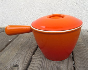 60s Vintage Le Creuset France Enameled Cast Iron RARE Mod Beef Fondue Sauce Pot with Lid, Flame Orange Le Creuset Pot No. 2 CLEAN