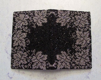 40s Wallet Steel Cut Faceted Micro Bead Kid Leather Lined, Silver and Black Leaf Design Vintage Wallet AMAZING Tiny Beads