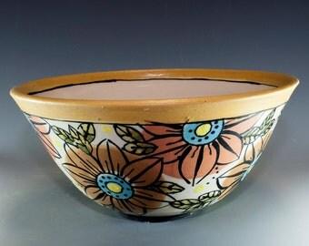 Stoneware Handpainted Pottery Bowl, Unique handmade ceramic bowl SKU 154-006