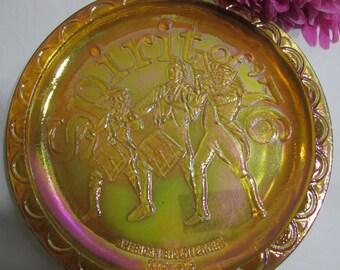 Fenton Carnival Glass Plate1970s Bicentennial Spirt of 76