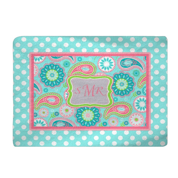 Fuzzy Area Rug Paisley And Dots Citrus Turquoise Hot Pink