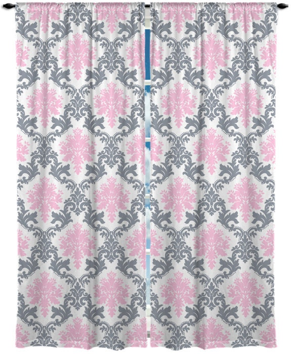 custom window curtain damask pink and grey any size any. Black Bedroom Furniture Sets. Home Design Ideas