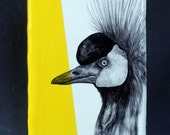 Hand Painted Grey Crowned Crane Portrait Wall Tile Bright Yellow