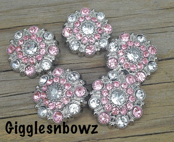 10 clear pink rhinestone buttons wholesale buttons for Craft buttons for sale