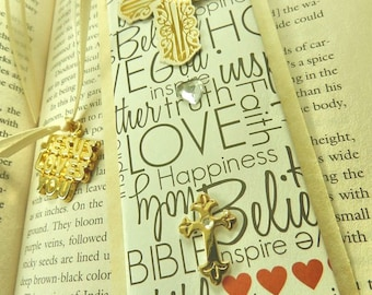 Jesus Loves You Bookmark Finished with Ivory Ribbon, Crosses, Faith, Easter, God, Religious, Spiritual