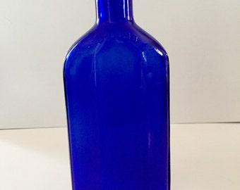 Vintage Cobalt Blue Glass Bottle, Squibb