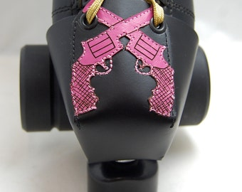 Leather Toe Guards with Pink Crossed Pistols