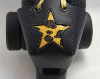 Roller Derby Leather Toe Guards with Tiger Print Star
