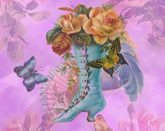 Vintage Floral Instant Download for Scrapbooking, Decoupage or Crafts