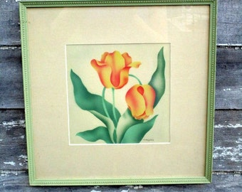 Art Deco Orange Tulip signed Art Picture Charcoal chalk Drawing Green Frame