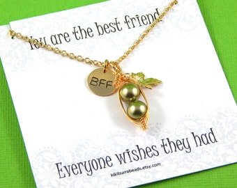 peas in a pod, two peas in a pod, Peapod Necklace, Gold Friendship Necklace,  Best Friend Gift, sisters necklace, hand stamped