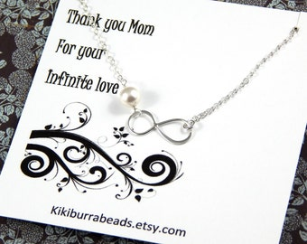Silver Infinity Necklace - Mother's Necklace Gift For Mother Sterling Silver Gift Boxed Jewelry
