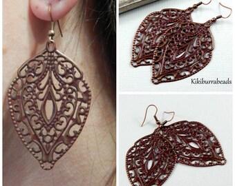 Leaf Earrings, Chandelier Earrings Copper Chandelier Earrings Long Drop Earrings