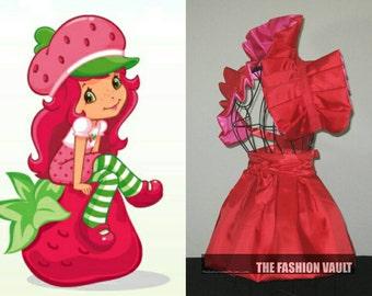 Strawberry Shortcake cosplay inspired  burlesque set dramatic bolero wrap apron bustle skirt French maid