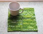 green earth day set of mug rugs