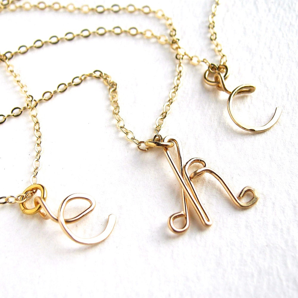 Personalized gold initial necklace custom 14k by azizajewelry for Custom letter necklace gold