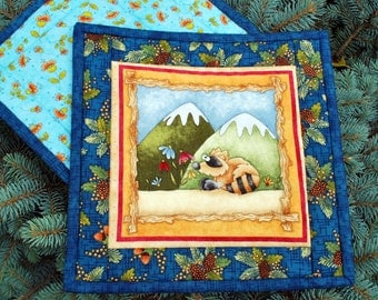 Camping Outdoor Gift Cotton Quilted Potholders snackmats Forest Friends set of two skunk raccoon Quiltsy Handmade