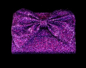 Purple Glitter Bow Clutch Bag - FREE SHIPPING WORLDWIDE