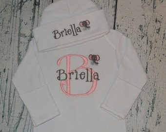 Personalized Infant Gown and Cap set Monogrammed Coming Home Outfit Elephant