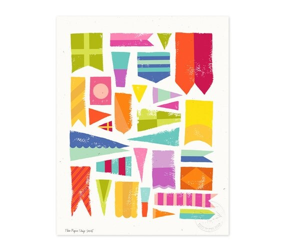 Smooth Sailing Flags Illustrated Art Print