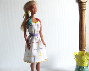 Barbie Clothes - White Graphic Handmade Summer Dress with Multicolor Trim - Halter Style for a Barbie Doll
