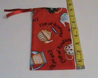 Red Cup Of Kindness Tea Pot Drawstring Pouch