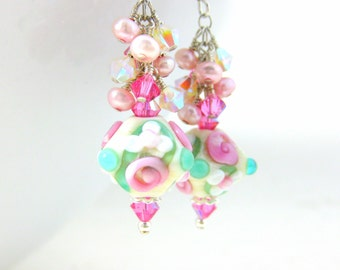 Floral Lampwork Earrings, Ivory Pink Mint Glass Earrings, Bridal Earrings Botanical Dangle Earrings Pearl & Crystal Cluster Earrings Nosegay
