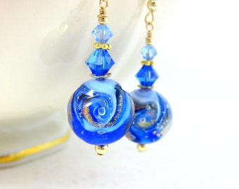 Cobalt Light Blue Gold Earrings, Beach Earrings, Wave Earrings, Ocean Earrings Murano Earrings Nautical Earrings Beach Jewelry Ocean Jewelry